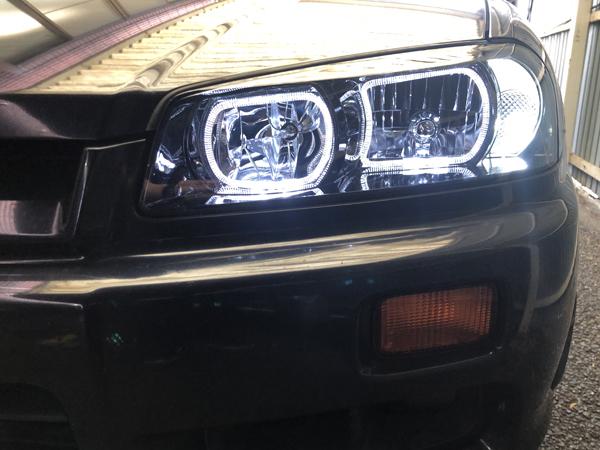 R34 スカイライン レンズ新品&インナーブラック塗装&イカリング 仕様 純正加工 ドレスアップ ヘッドライト