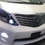 20 アルファード前期/後期 インナーブラック塗装&アクリルファイバー&LEDイカリング 仕様 純正加工 ドレスアップ ヘッドライト お取り付け 【車検対応】