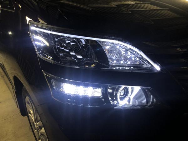 20 ヴェルファイア 前期/後期 アクリルファイバー&LED増設&イカリング 仕様 純正加工 ドレスアップ ヘッドライト お取り付け 【車検対応】