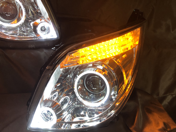 ワンオフ加工 MK21S パレット 前期/後期 シーケンシャルウインカー&LEDイカリング 仕様 純正加工 HID ドレスアップ ヘッドライト 【車検対応】