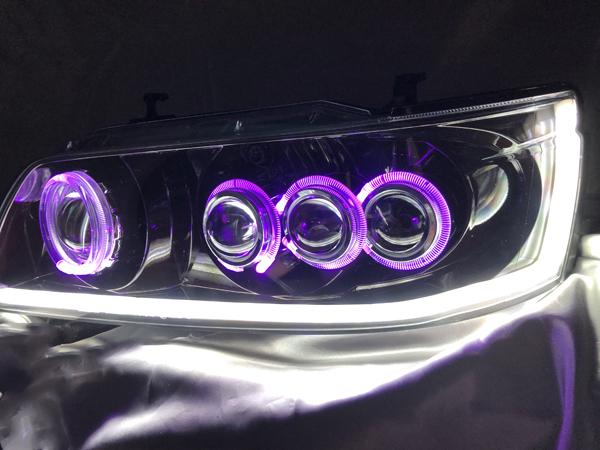 ワンオフ加工 C35 ローレル 後期 メダリスト 単眼&3連プロジェクター移植&シーケンシャルウインカー&RGBフルカラーLEDプロジェクター&インナー塗装 純正加工品 ドレスアップヘッドライト