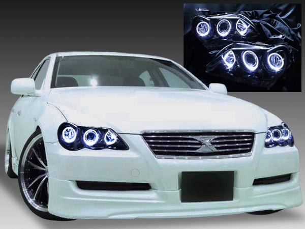 120系 マークX 後期 純正HID・AFS無し車用  LEDイカリング&インナーブラック塗装 仕様 純正ドレスアップヘッドライト