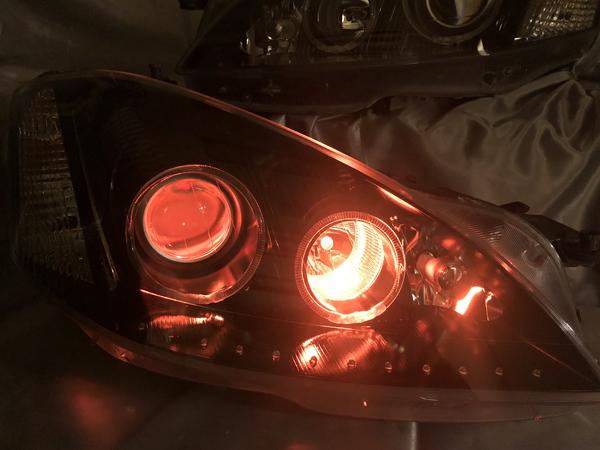 オーダー加工 W221 Sクラス 前期 ナイトビュー無し LEDイカリング&RGBプロジェクター&インナーブラック塗装&LED増設 仕様 純正加工 ドレスアップ ヘッドライト