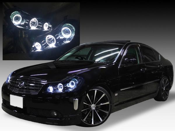 【車検対応】Y50 フーガ 前期/後期 AFS有り車用 純正加工品 ドレスアップ ヘッドライト インナーブラック塗装&LEDイカリング 仕様