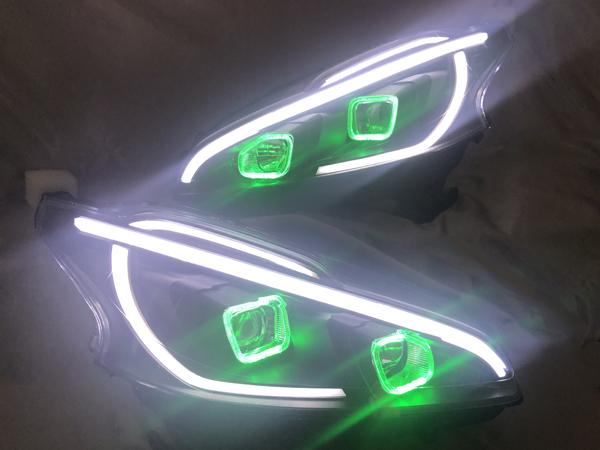 プジョー 208 GTI ドレスアップ ヘッドライト 社外品加工 LEDイカリング 仕様