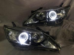 AVV50 カムリ/カムリハイブリッド 前期 インナーブラック塗装&イカリング 仕様 純正加工品 ドレスアップ ヘッドライト【車検対応】