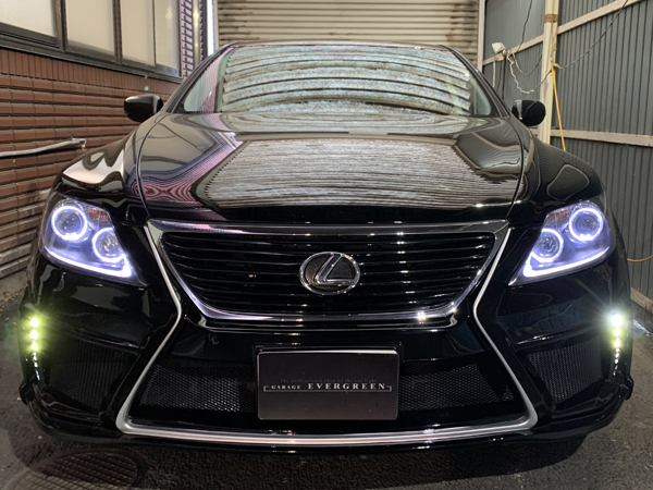 レクサス LS460 前期 インナーマッドブラック塗装&イカリング&ポジション部LED増設仕様&ヘッドライト交換