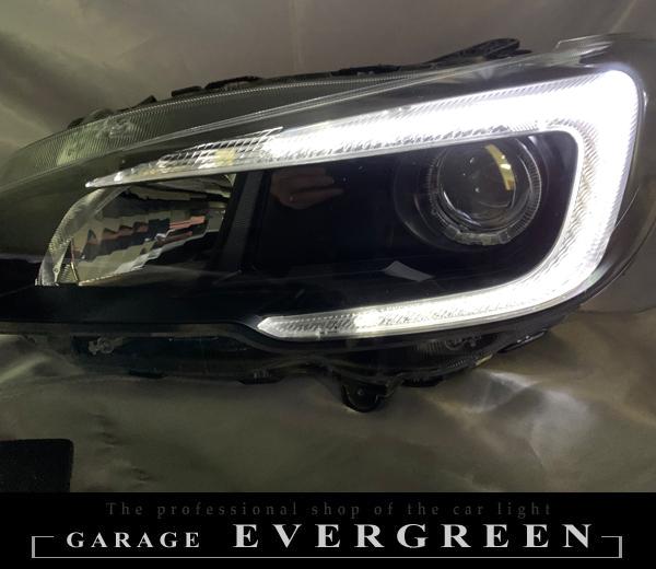 レヴォーグ 前期 VM4/VMG/VAB/VAG インナー&ロービーム横 艶消しブラック塗装&LEDイカリング&純正ポジション部LED色替え 仕様 純正加工品 ドレスアップ ヘッドライト