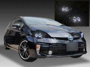 【車検対応】30系 プリウス 前期 純正LED車 インナーブラック塗装&LEDイカリング 仕様 純正加工品 ドレスアップ ヘッドライト