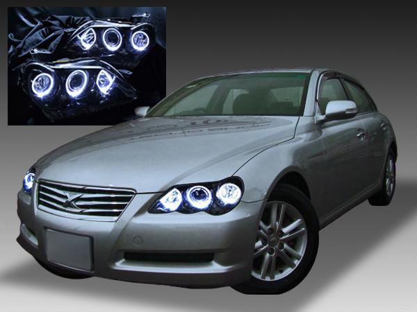 【車検対応】120系 マークX 後期 純正HID・AFS無し車用  LEDイカリング&インナーブラック塗装 仕様 純正ドレスアップヘッドライト