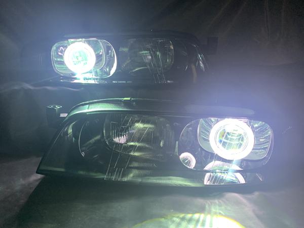 ワンオフ加工 R33 スカイライン 前期 プロジェクター移植&CCFLイカリング仕様&新品レンズ交換 純正加工品 ドレスアップ ヘッドライト