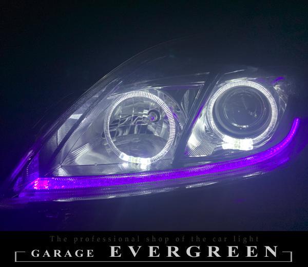ワンオフ加工 30プリウス 後期 HID用 LEDイカリング&純正ポジション部紫LED打ち替え 仕様 純正加工 ドレスアップ ヘッドライト