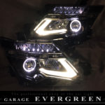 ワンオフ加工 E52 エルグランド 中期/後期 ドレスアップ ヘッドライト インナーブラック塗装&LEDイカリング&LED増設 仕様【車検対応】