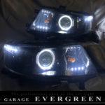 オーダー加工 MH23 ワゴンR スティングレー 純正加工品 ドレスアップ ヘッドライト インナーブラック塗装&LEDイカリング&LED増設 仕様 左右セット