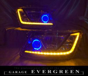 ワンオフ加工 日野17系 プロフィア/レンジャー 可変機能有 シーケンシャルウインカー&LEDイカリング 仕様 純正加工 ドレスアップ ヘッドライト