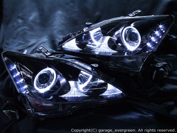 車検対応 レクサス IS 前期/中期 ブラック塗装&イカリング&増設LED 仕様 GSE20/21/25  ドレスアップヘッドライト