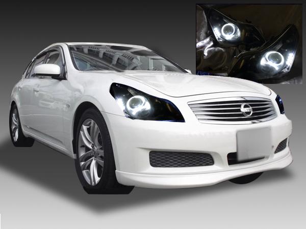 【車検対応】V36 スカイライン 前期 セダン用 純正ドレスアップヘッドライト LEDイカリング&白LED増設&インナーブラック塗装