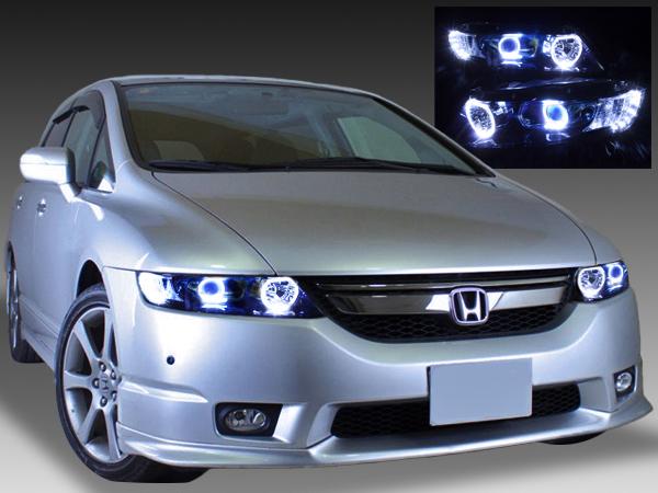 RB1/2 オデッセイ  AFS無し レベリングモーター有り  純正ドレスアップヘッドライト LEDイカリング&白LED増設&インナーブラック塗装 仕様