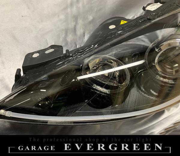 ワンオフ加工 プジョー RCZ インナーブラック塗装&6連イカリング&アクアブルーLED増設&LEDイルミファイバー 仕様 純正加工品 ドレスアップ ヘッドライト