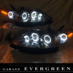 オーダー加工 エリシオン 後期 純正加工品 ドレスアップ ヘッドライト インナーブラック塗装&LEDイカリング&橙LED増設 仕様