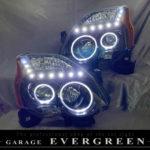 ワンオフ加工 T31 エクストレイル 後期 インナーブラック塗装&LEDイカリング&白LED増設&サイドクリアオレンジ 仕様 純正加工品 ドレスアップ ヘッドライト