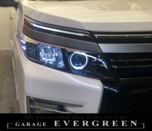 ZZR80系 ヴォクシー 前期 LEDイカリング&純正ポジション部色替え&サイド白LED増設 仕様 ドレスアップ ヘッドライト 純正加工品